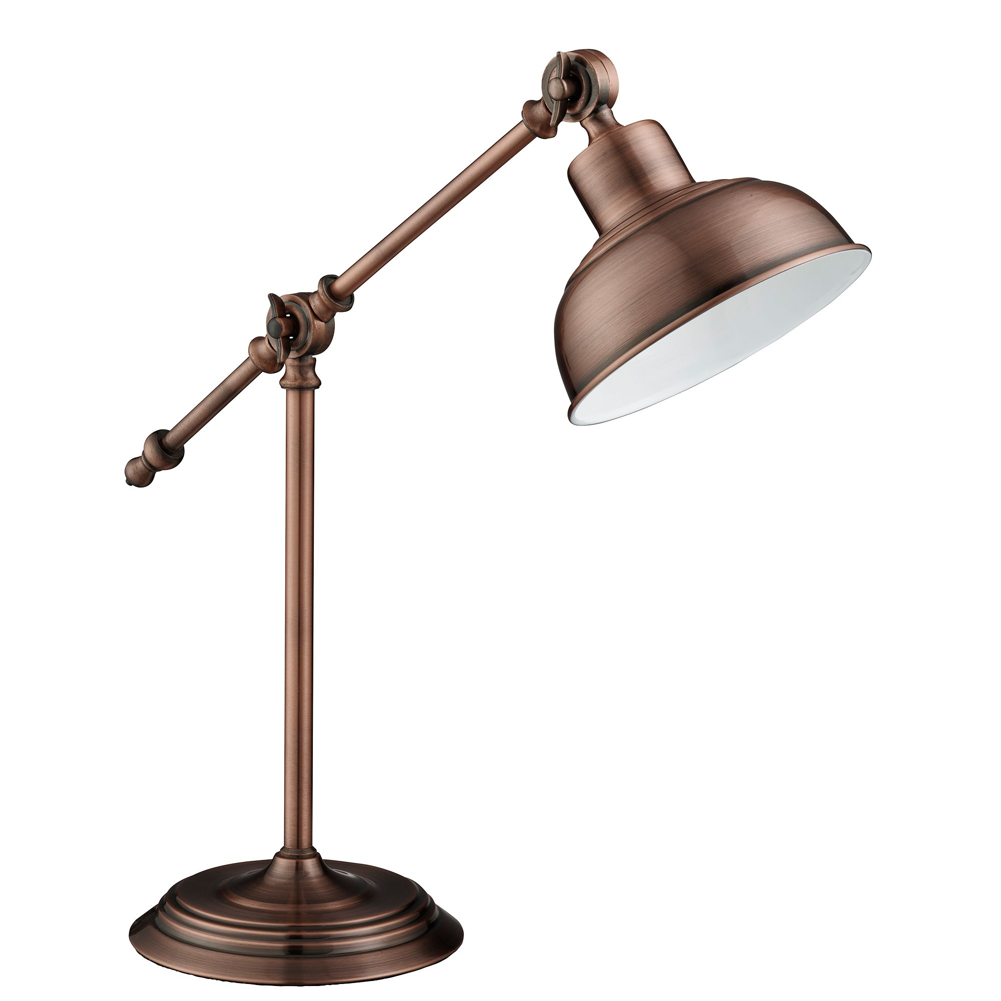 Macbeth Industrial Adjustable Table Lamp, Antique Copper