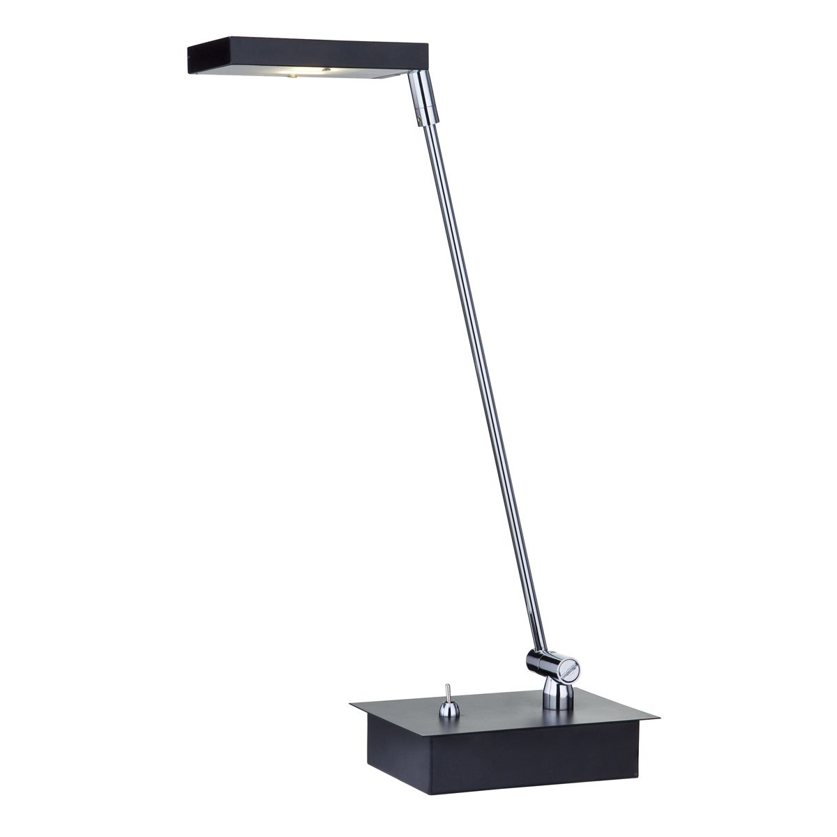 Chrome 12 Led Table Lamp With Square Black Shade, Eu Plug