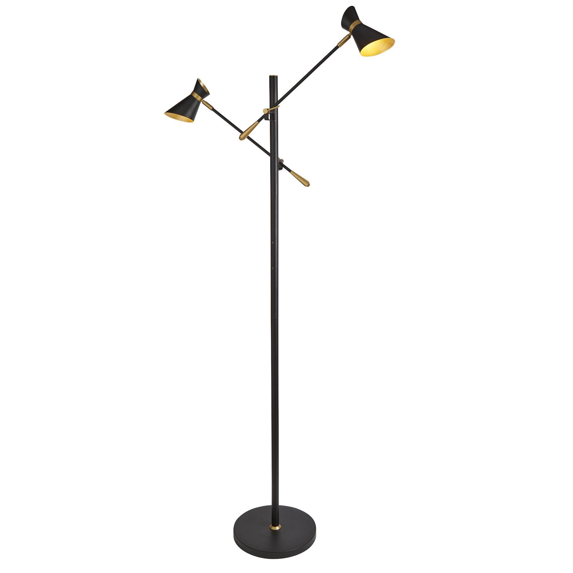 Diablo 2 Light Led Floor Lamp, Matt Black, Chrome & White