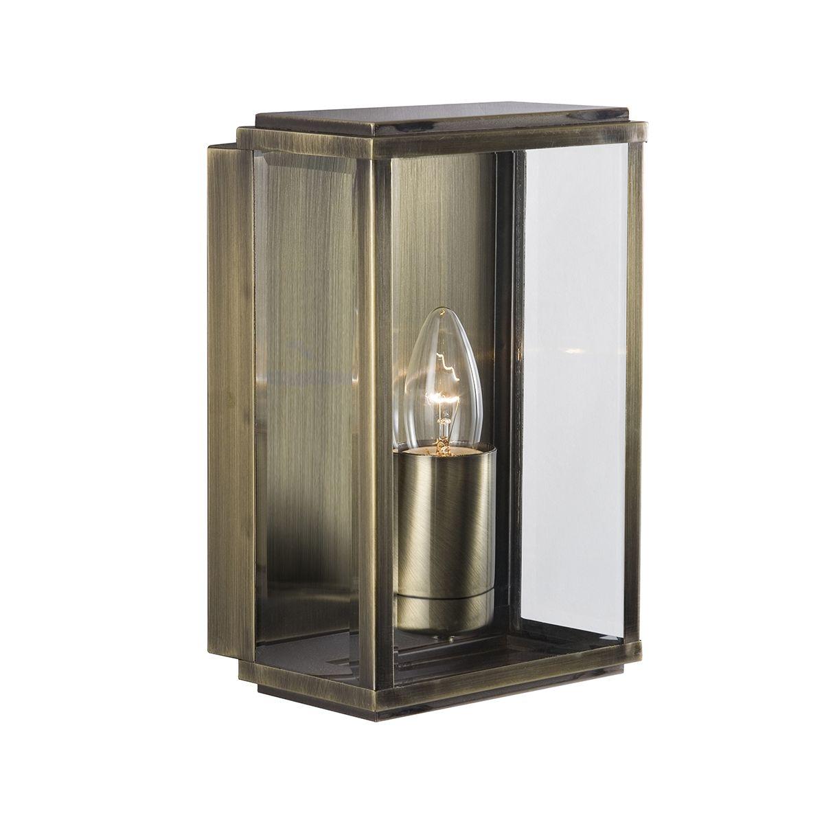 Antique Brass Ip44 Rectangular Outdoor Wall Lights (pack Of 6)