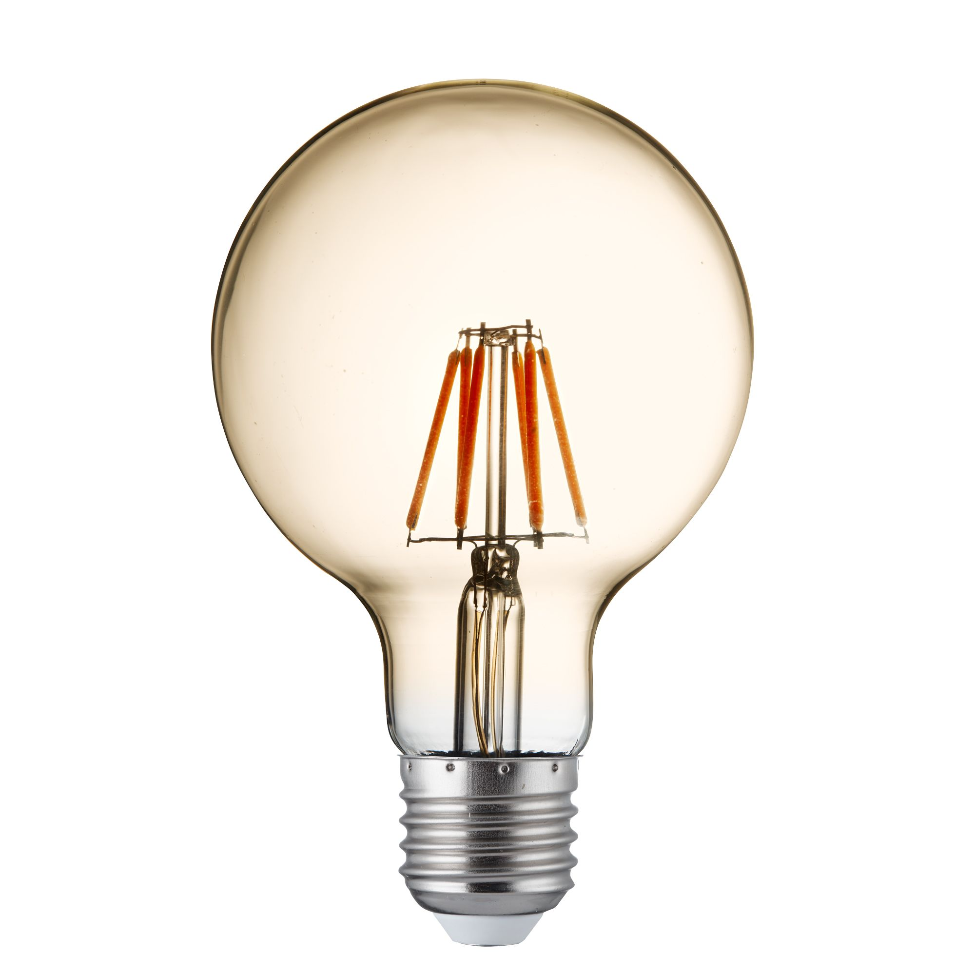 Pack X 5 - Dimmable Led Filament Globe Lamp (95mm) Amber Glass, E27 6w, 600lm 27