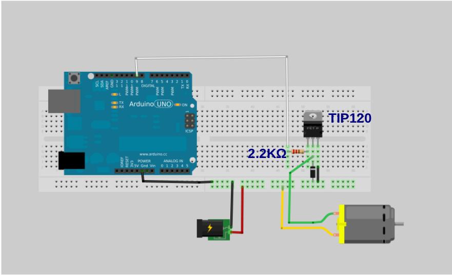 schema del driver per motore elettrico con TIP120 pr Arduino