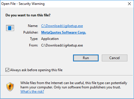 installation warning from mt4 trading software