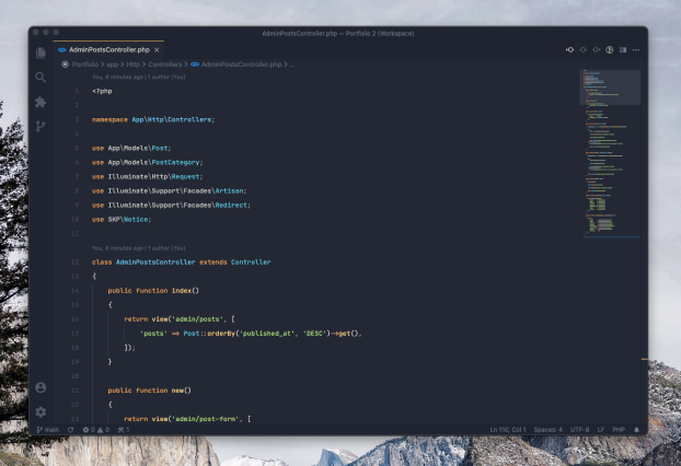 VS Code using Ayu Mirage Bordered theme showing PHP