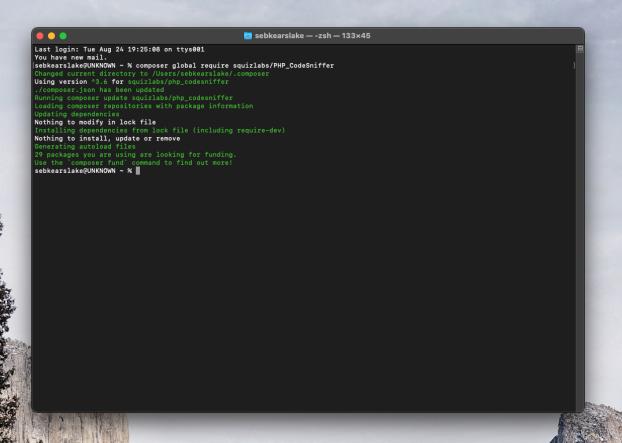 Screenshot of a terminal window running Composer