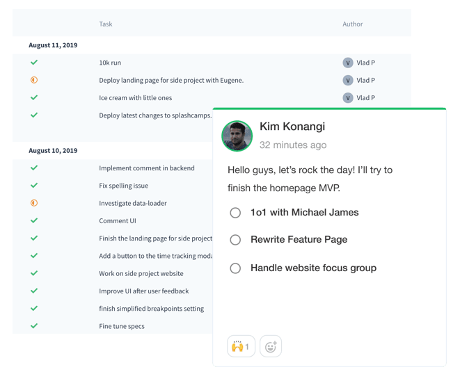 Achieved helps you build a sense of belonging among your team, helping people stay inline with your company's objectives and track achievements. Achieved is a simple tool to track Team progress for modern organisations. Forecast your workday, track step by step your achievements & share it with your team. It's the Ideal to keep everyone aligned with business goals. Built with OKR, nomads, remote workers and fast scaling companies in mind.