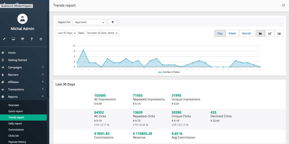 Post Affiliate Pro est un logiciel d'affiliation qui exécute l'intégralité de votre programme d'affiliation. Il est intuitif, rapide, efficace et extensible et évolutif à l'infini. Le système vous donnera accès au panneau Marchand et à vos affiliés au panneau d'affiliation pour voir leurs statistiques et gérer leur matériel de promotion. Post Affiliate Pro automatisera l'intégralité de votre programme d'affiliation. Il est livré avec plus de 200 intégration et se connecte à vos concepteurs de site web et boutiques en ligne préférés. Le suivi à toute épreuve, la disponibilité à 99% et les possibilités de personnalisation infinies en font le logiciel d'affiliation ultime.