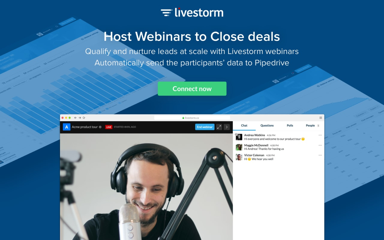 Build strong relationships with your audience through webinars and video meetings. At Livestorm we help companies get the most of their webinars. Our mission is to make your webinars simpler and more efficient. Livestorm is a webinar tool that functions 100% in your browser, and, besides the basic webinar requirements, we provide: advanced post-webinar analytics tools, audience segmentation capabilities, lead management system, native integrations with CRMs and marketing tools. At Livestorm, we strive to build the best experience possible for our users. We focus on design, high disponibility, and technical capabilities so that you only have to focus on doing great webinars for your company. We provide smarter webinars, you get better leads.