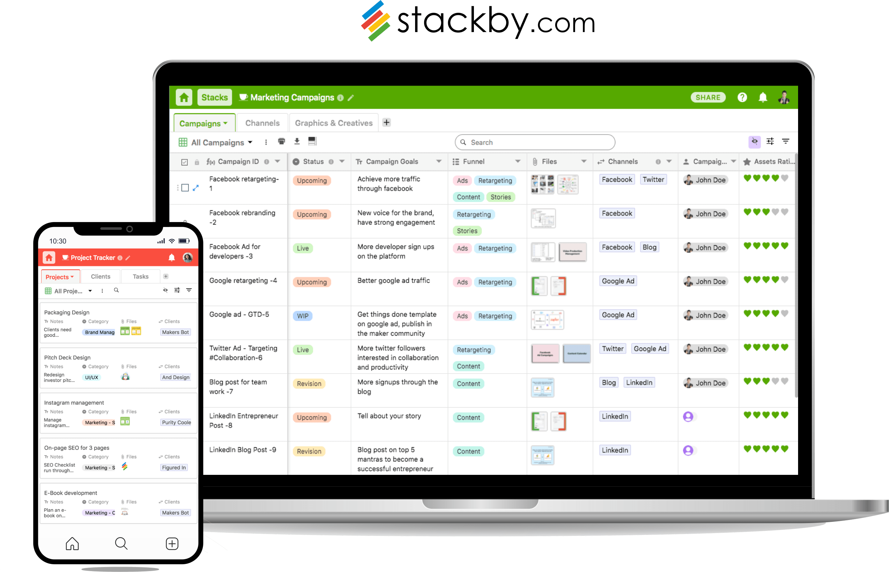Stackby helps teams build their own tools and unlock the full potential of creating software.With the ease of use of spreadsheets, power of databases and connections to best services (APIs), Stackby is an all-in-one platform that allows you to not only plan and manage but also automate your life and work. It's real-time, collaborative and has the ability to connect columns to third party services to pull information automatically. With traditional software dictating how you should work, we believe in the contrary - you should dictate how software should work. Our mission is to empower the billion spreadsheet users to build powerful software tools for their teams.
