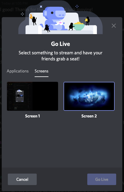 discord go live screen chooser