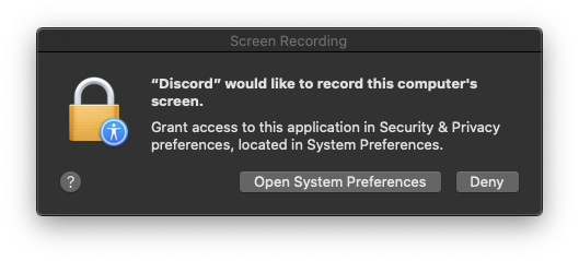 Mac OS screen recording dialog