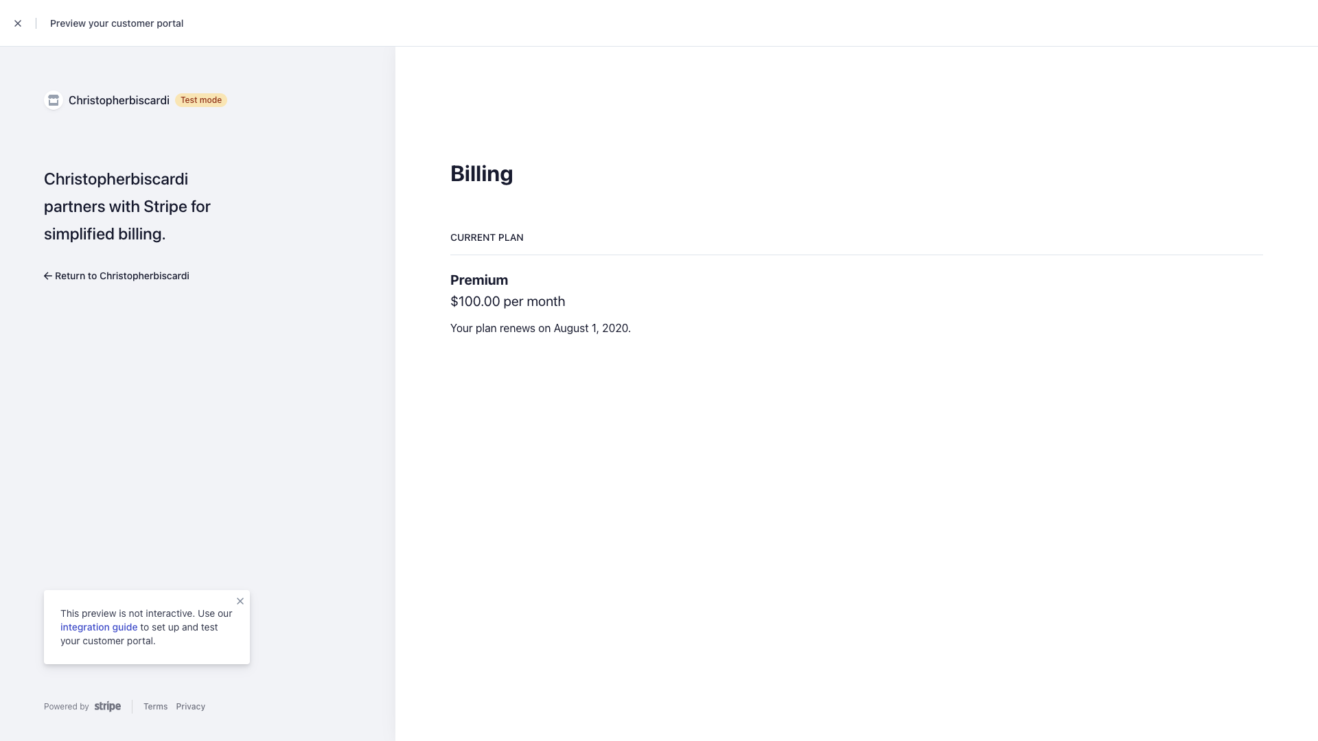 Billing Portal Test View