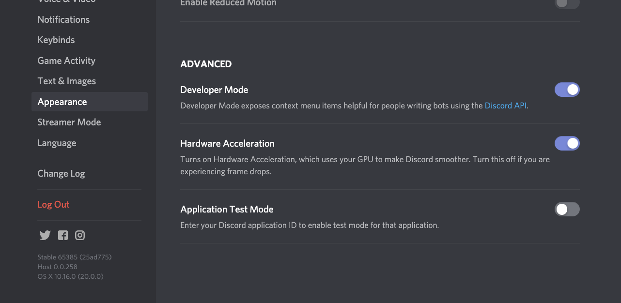 Discord developer mode setting