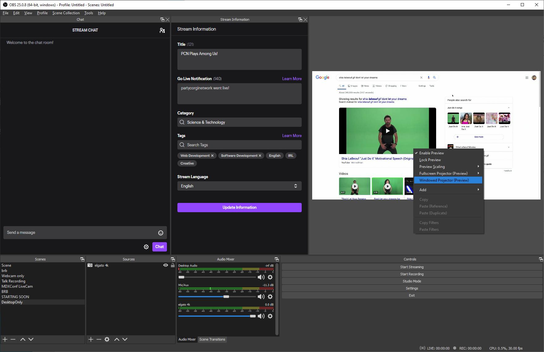 OBS window projector right click menu option