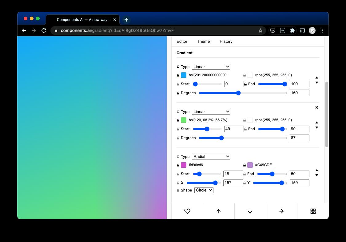 components.ai gradient page