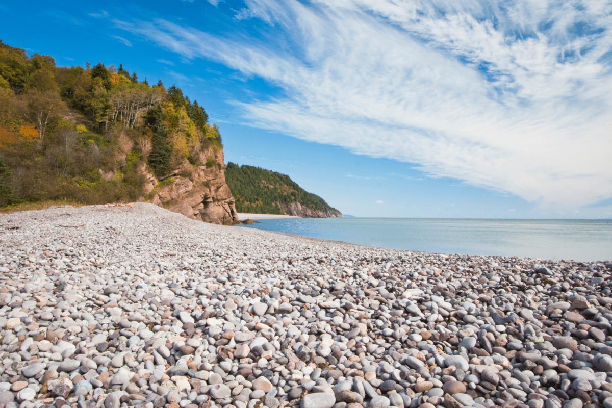 Rocky beach along Fundy Trail