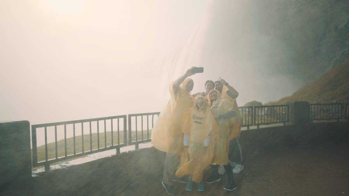 Selfie on Platform at Journey Behind the Falls