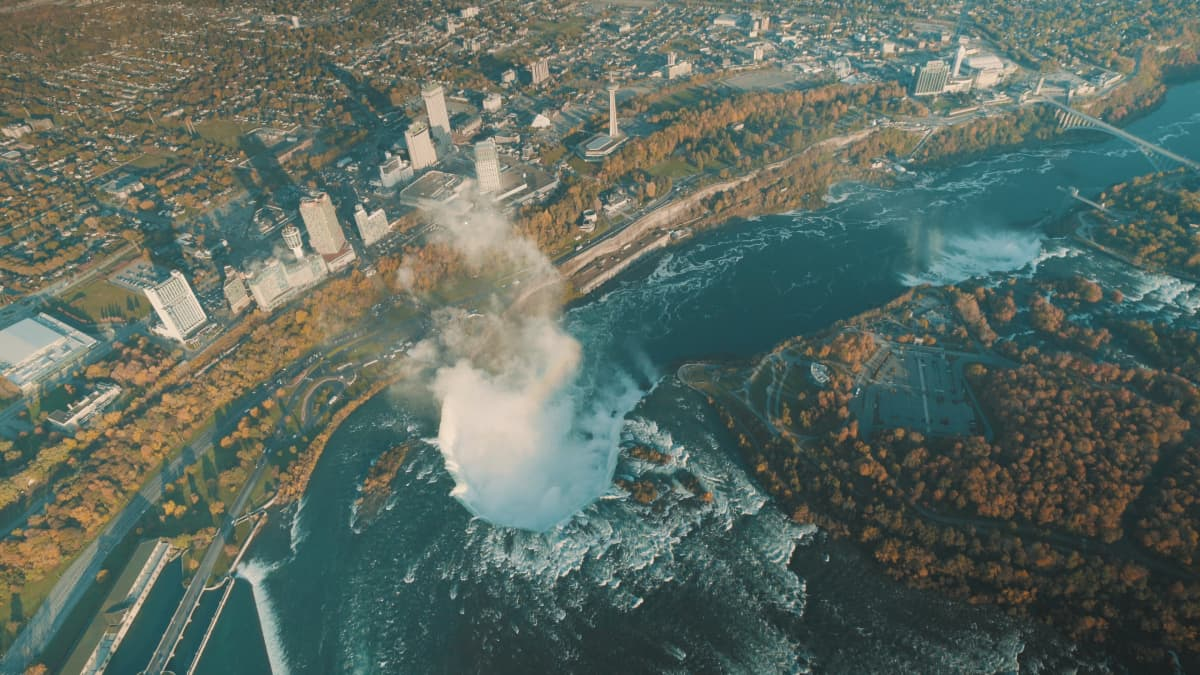 View of Niagara Falls from Helicopter