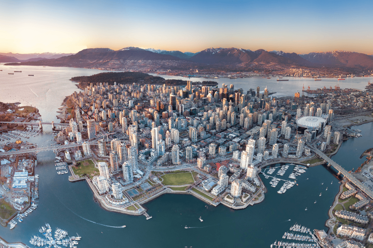 aerial view of Vancouver evening