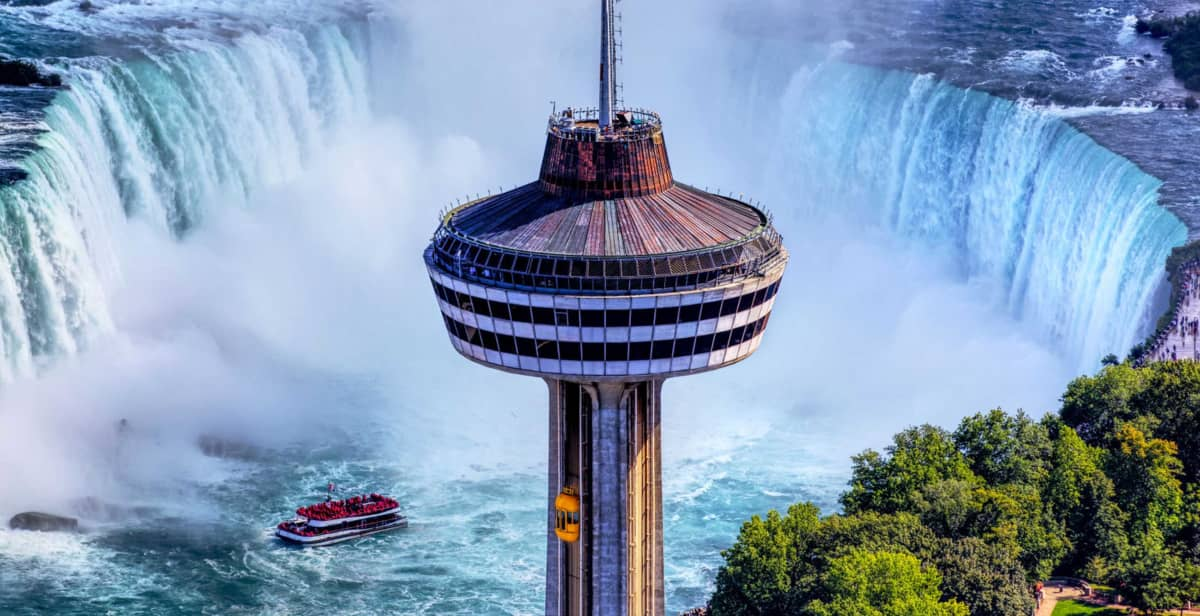 Close up of Skylon Tower with view of the Falls in Background