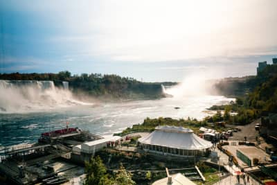 View overlooking Niagara Falls and Hornblower dock
