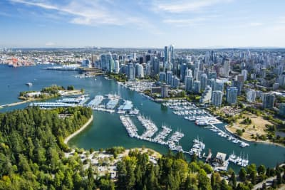 Aerial view of Vancouver City Daytime
