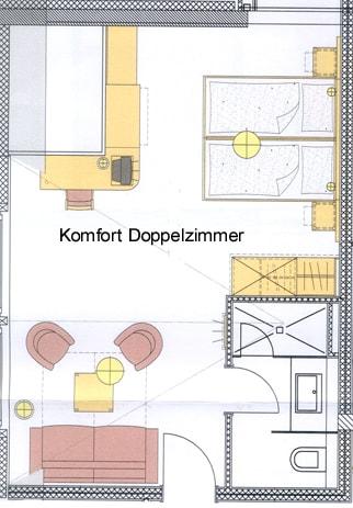 Grundriss Komfort-Doppelzimmer