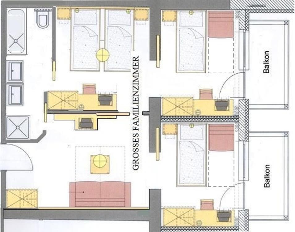 Grundriss großes Familienzimmer