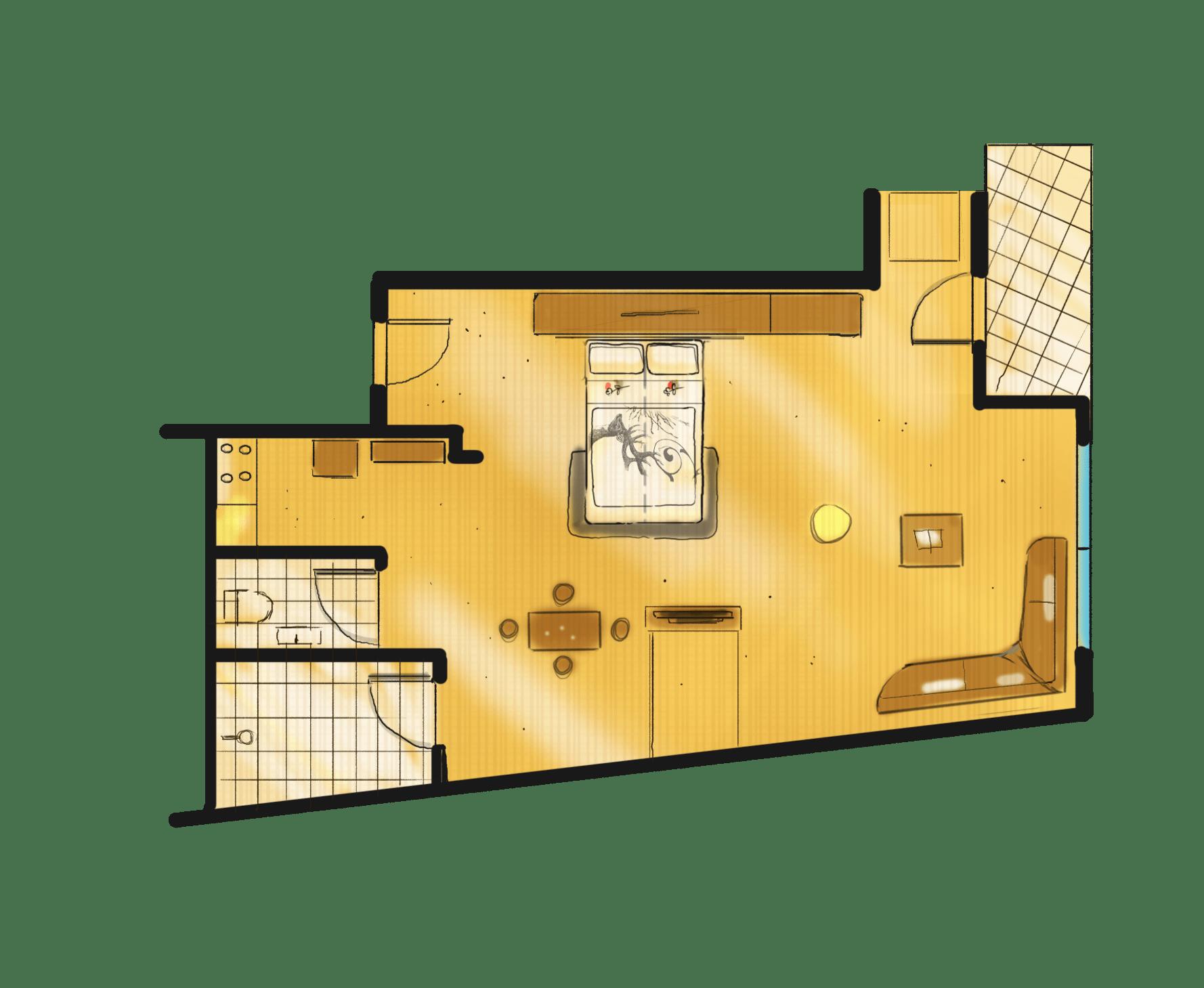1-Raum Appartement Thyrsus