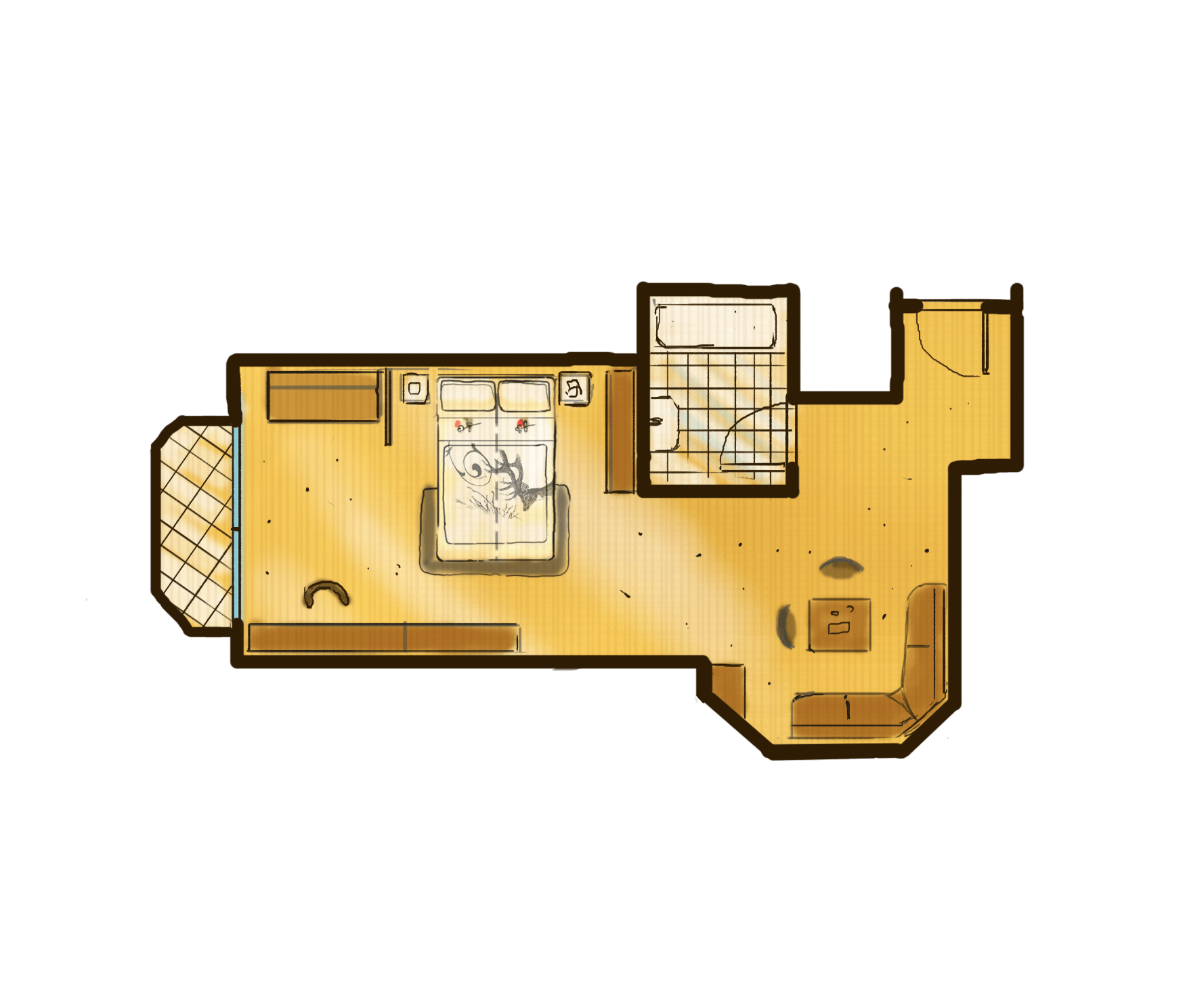 1-Raum-Appartement mit Erker