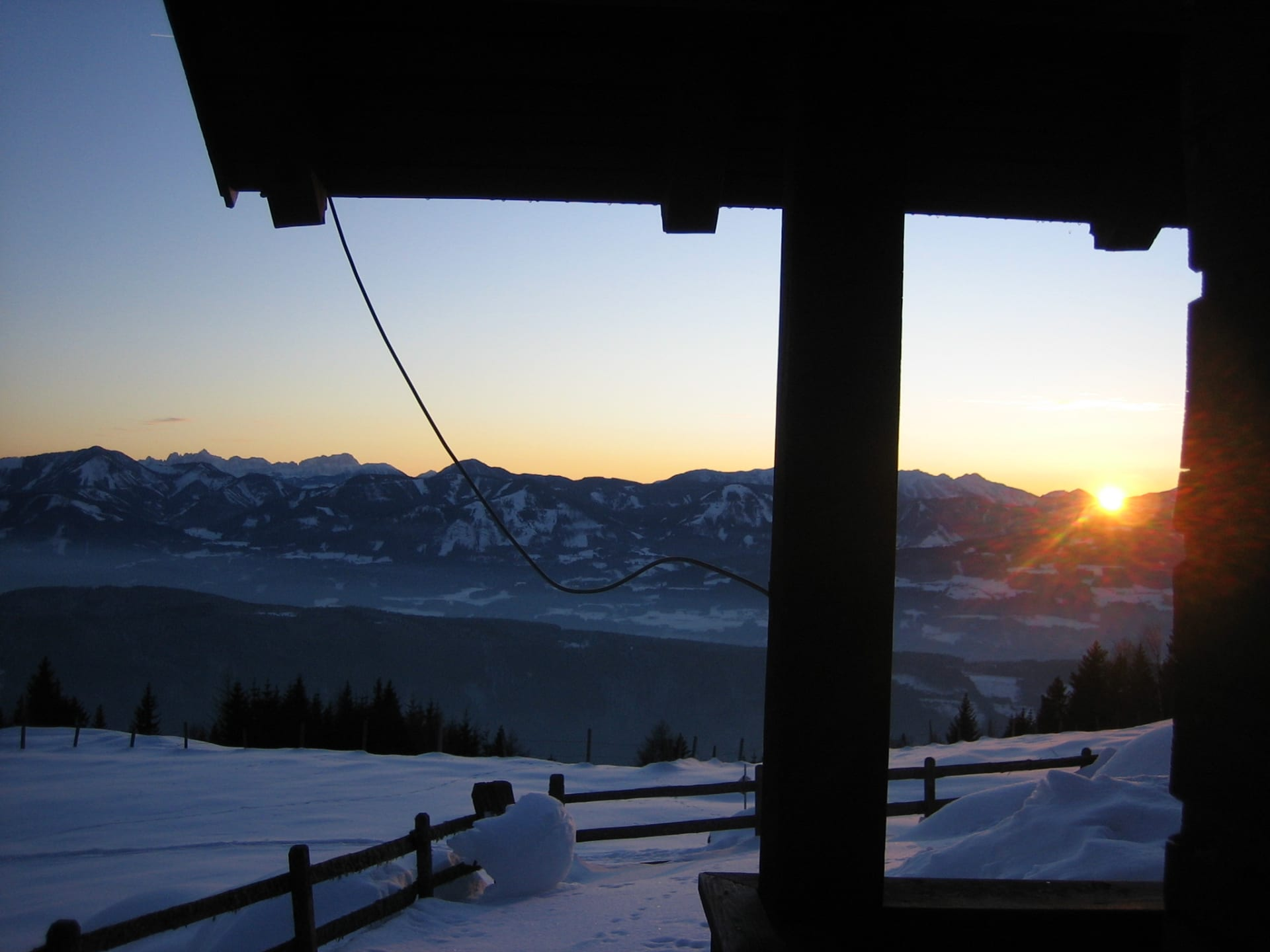 Winter evening atmosphere from our alpine cabin