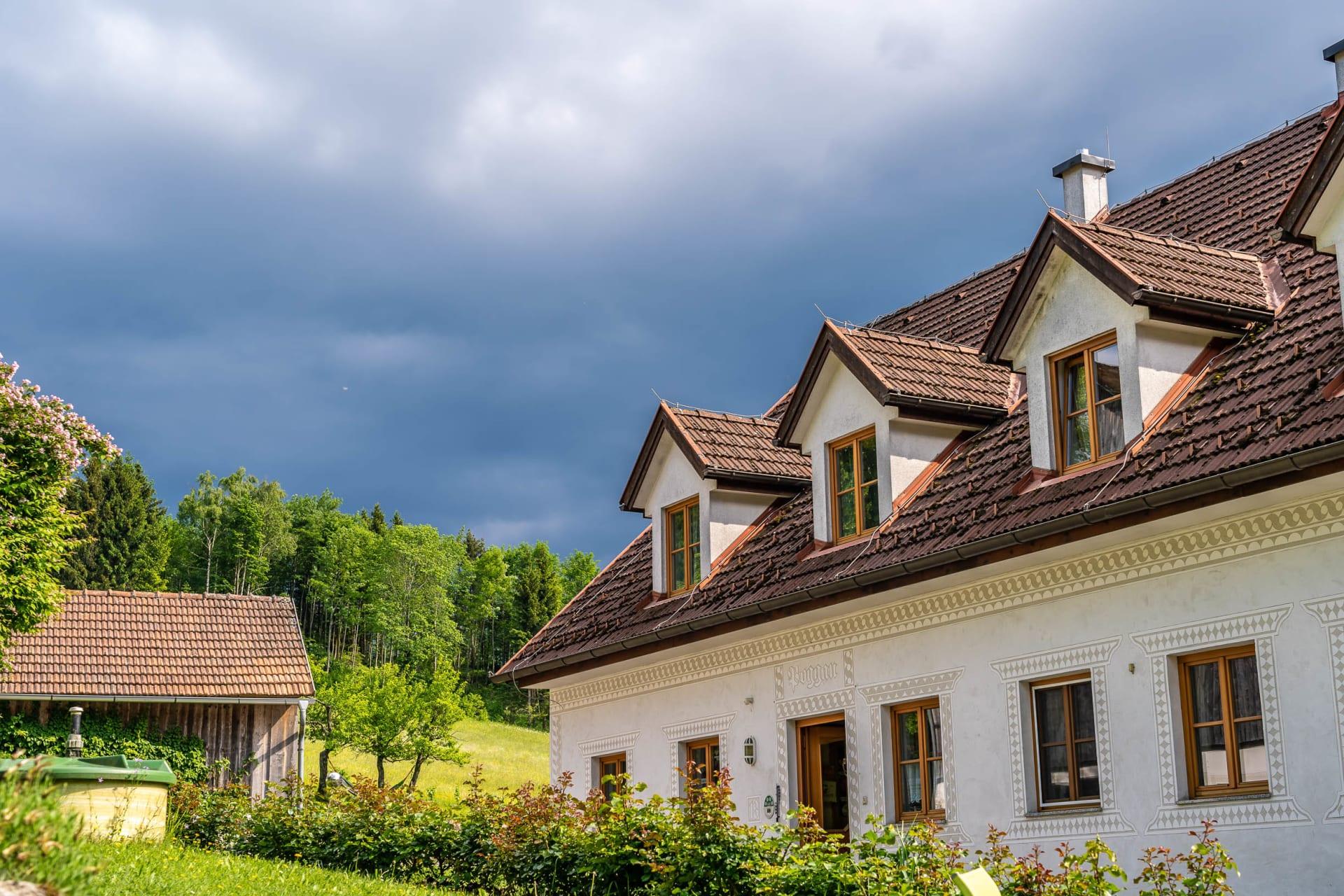 Haus Ansicht von der Gartenanlage