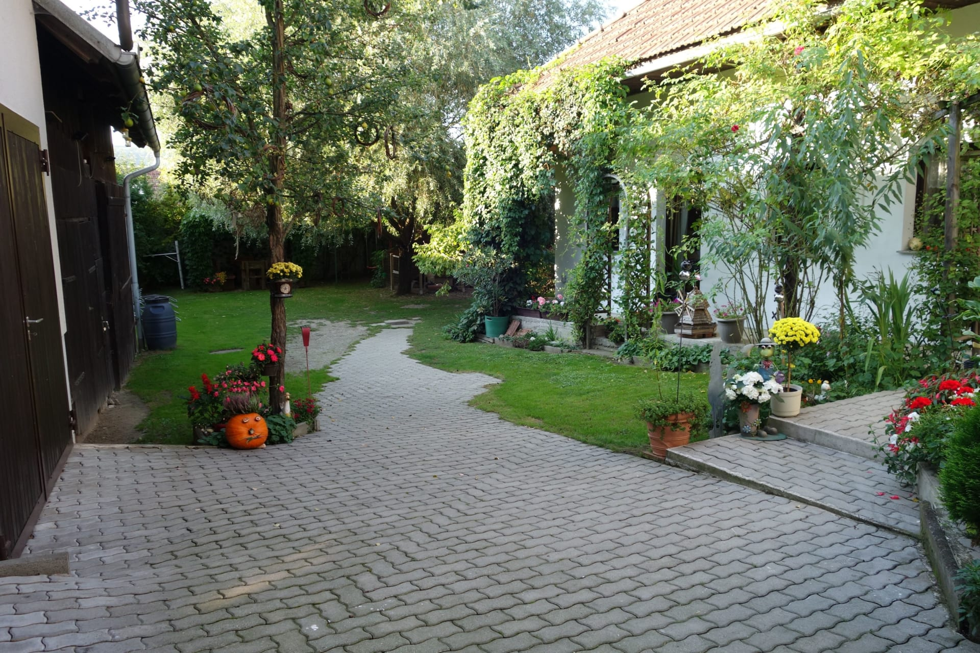 Innenhof mit viel Platz, viel Grün, viel Schatten ....