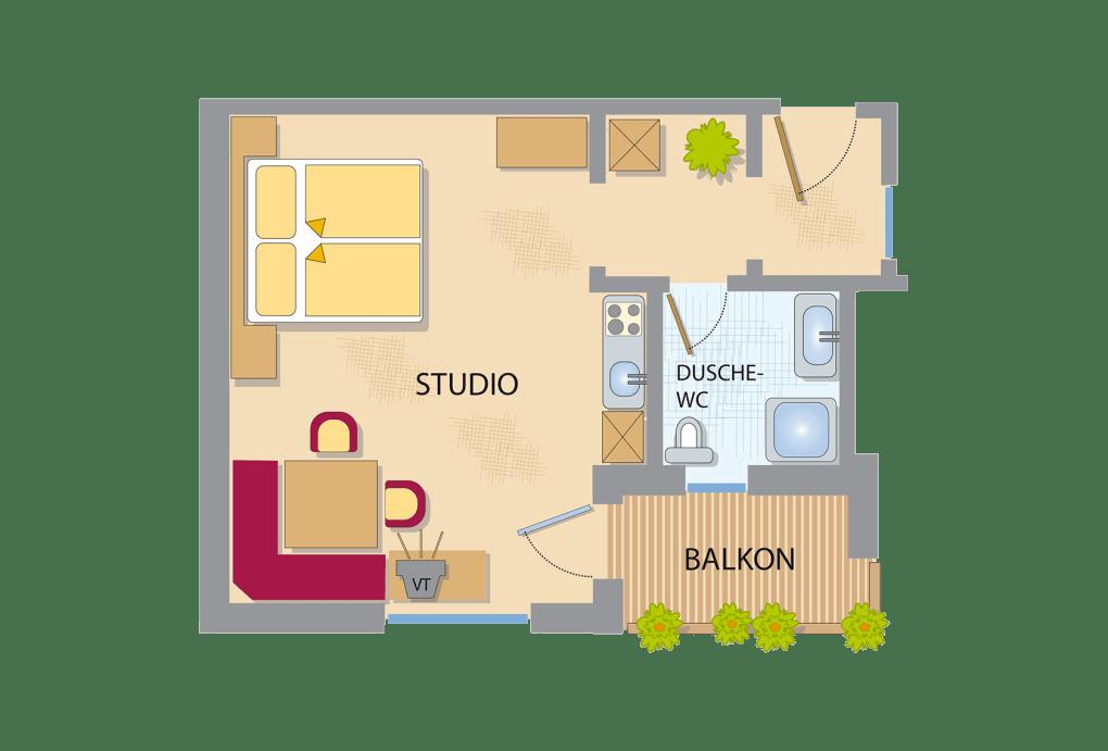 appart studio komfort appart studio zimmer. Black Bedroom Furniture Sets. Home Design Ideas