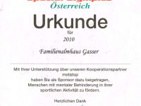 Special Olympics Urkunde
