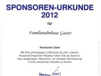 Sponsoren-Urkunde 2012
