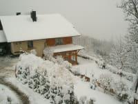 Schneefall am Kollmannbauerhof