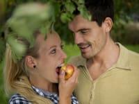 Romantische Zeit im Apfelgarten