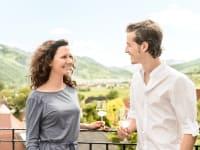Turm Wachau - Denise und Stefan auf der Terrasse