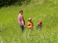 Spazieren in den Wiesen ums Haus