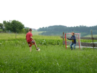 Kinder beim Fußballspielen auf unserer Wiese vor dem Bauernhof