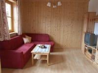 Wohnzimmer Ferienwohnung Gartenblick