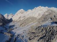 Morgens hoch über der Wildau im Lammertal - Blick Tennengebirge