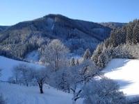 Ausblick vom Balkon im Winter