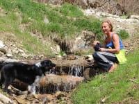 Abkühlung für Hund und Herrchen im hauseigenen Bacherl