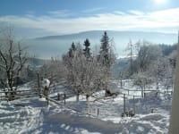 Tiefverschneiter Obstgarten