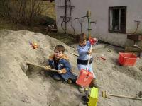 der Sandhaufen ist sehr beliebt