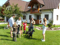 Ziegen vorm Gästehaus mit Kinder