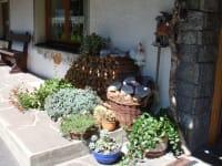 Eingang mit Blumen und Sprüchen
