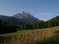 The Telfer Wiesn belong to the natural protected area of Kalkkögel. Serles - left and hawk 3277 m